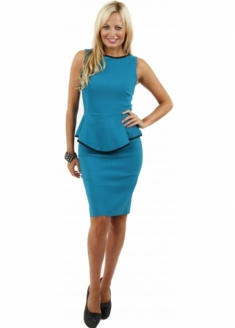 Melanie Jade Peplum Pencil Dress With Contrast Piping