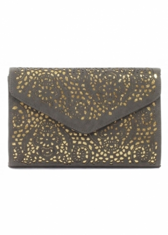 Cheeky Budha Grey & Gold Laser Cut Large Envelope Clutch Bag