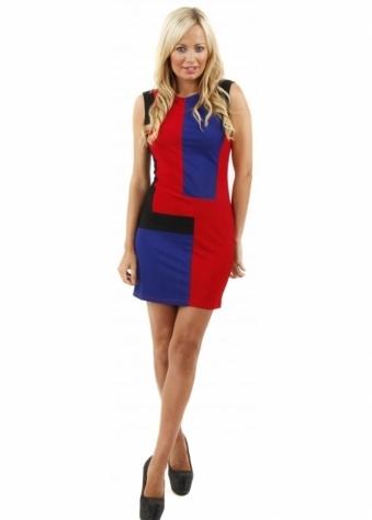 Stella Morgan Colour Block Red, Blue & Black Mini Dress