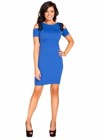 Sharise Blue & Black Open Shoulder Mini Dress