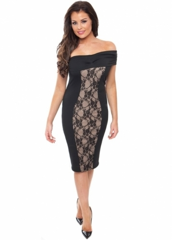 Jessica Wright Emma One Shoulder Lace Panel Midi Dress
