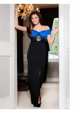Jessica Wright Samira Blue & Black High Split Maxi Dress