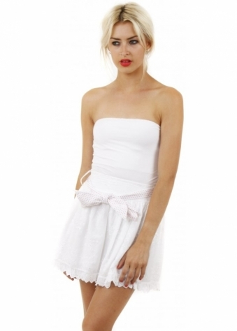 White Broderie Anglaise Layered Mini Skirt