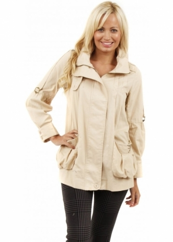 Stella Morgan Beige Cotton Army Style Stud Trimmed Jacket
