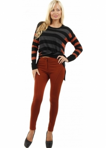 Stella Morgan Tan Stretch Cotton Jersey Zip Front Panelled Leggings