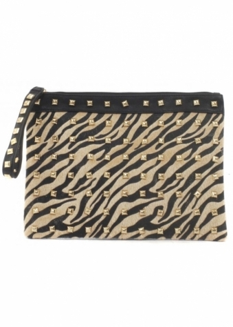Tiger Print Ponyskin & Gold Stud Black Clutch Bag