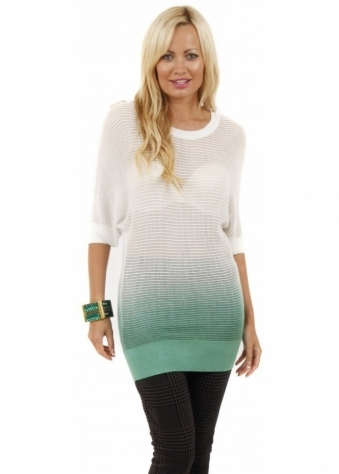 Stella Morgan Light Green Ombre Print Knitted Jumper