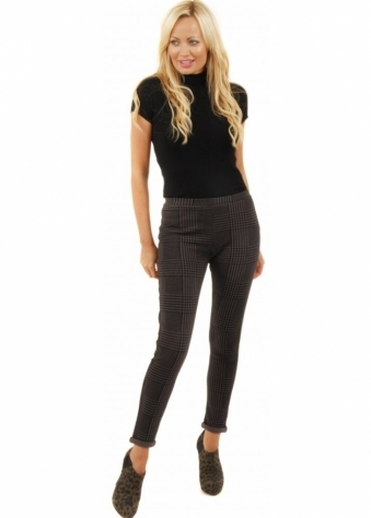 Dark Grey Check Print Stretch Fit Jegging Trousers