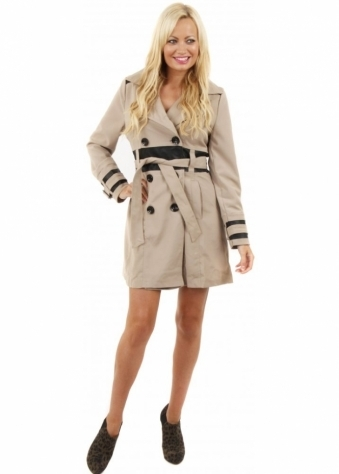 Stella Morgan Beige Faux Leather Detail Short Trench Coat