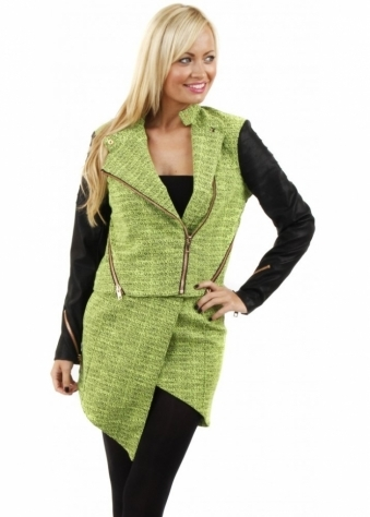 No Tricks Neon Green Textured Cropped Jacket