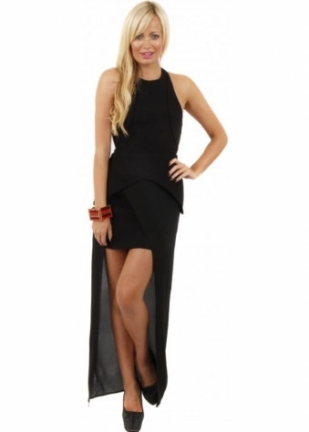 Finders Keepers Next To Me Black Hi Lo Backless Maxi Dress