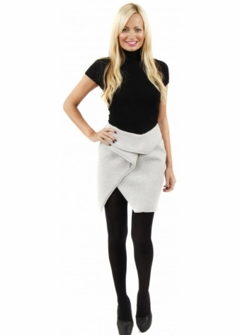 Finders Keepers For You Grey Fleece Asymmetric Wrap Skirt