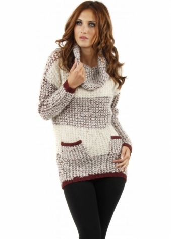 Cula Roll Neck Burgundy & Beige Knitted Jumper