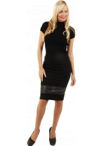 Perforated PU Insert Black Pencil Skirt