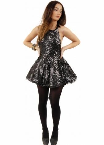 Koo-Ture Spirit Black Sequin Backless Skater Dress With Dip Hem