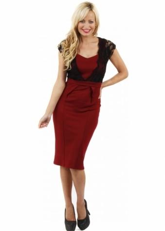 Koo-Ture Freya Burgundy Scuba Black Lace Overlay Midi Dress