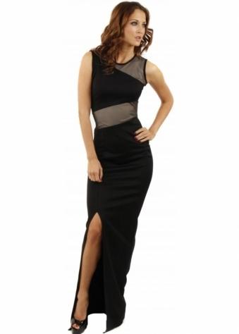 Koo-Ture Destiny Mesh Panel Black Scuba Maxi Dress