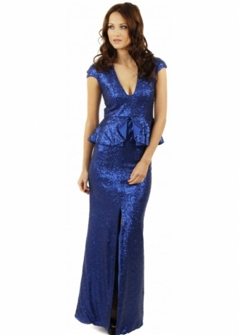 Tempest Spirit Cobalt Blue Sequin Peplum Waist High Split Maxi Dress