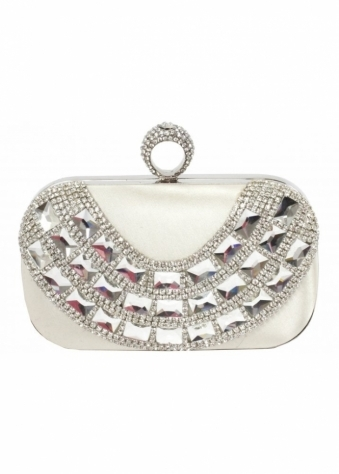 Designer Desirables Champagne Satin Crystal Ring Top Satin Clutch