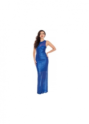 Goddess London Midnight Blue Mesh Insert Sleeveless Sequin Evening Maxi