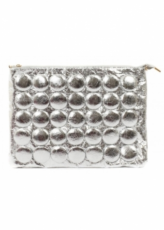 Chunky Silver Buttons Clutch Bag