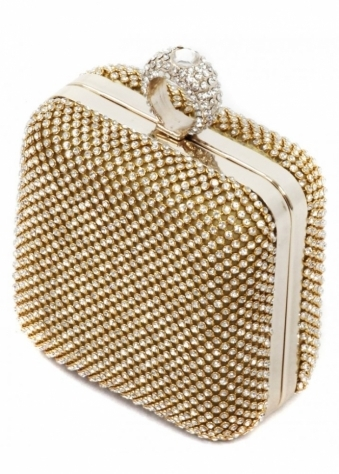 Designer Desirables Gold Square Crystal Ring Top Bag