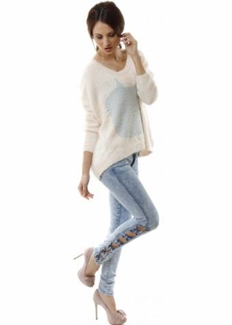 Blue Rage Acid Wash Stretch Fit Denim Jeans With Bow Sides