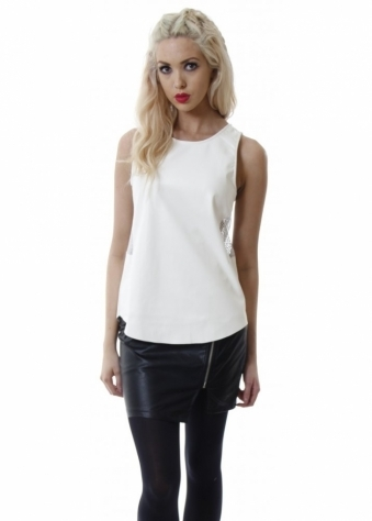 Ivory PU Sleeveless Mesh Sides Top