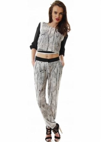 Grey Snake Print Cropped Side Pocket Trousers
