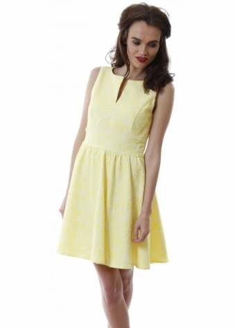 Lucy Paris Yellow Sleeveless Skater Dress With Pretty Raised Floral Pattern