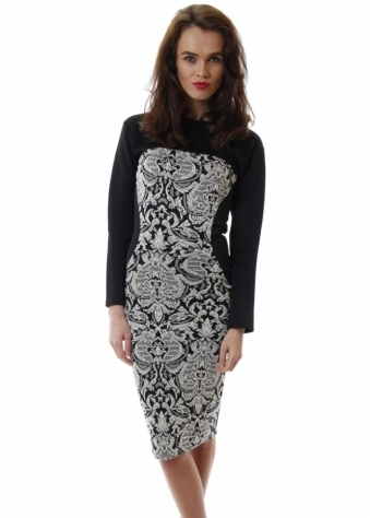 Honor Gold Jackie Dress Bodycon Midi With Textured Print Illusion Panel