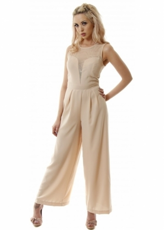 Song Rain Nude Tailored Mesh Neck Sleeveless Jumpsuit With Wide Trouser Leg