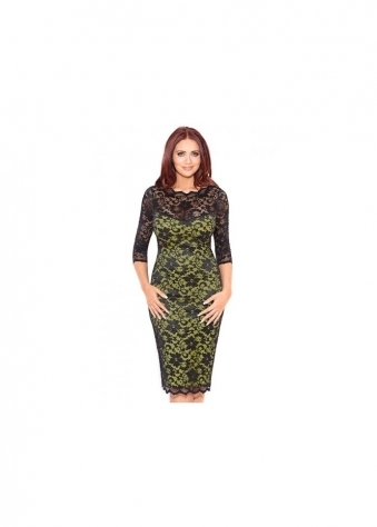 Amy Childs Georgia Black & Lime Lace Pencil Dress