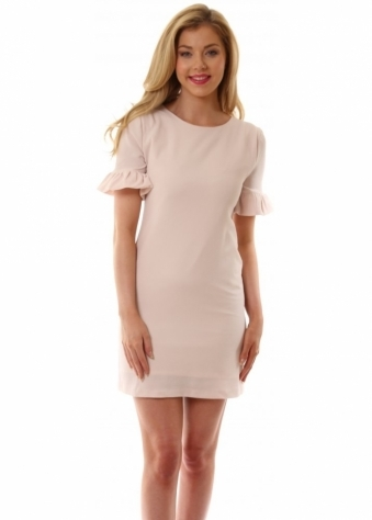 Pearl Ruffle Sleeve Shift Dress In Nude