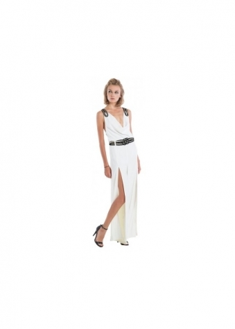 Miss Milne White Orchid Jumpsuit With Pleated Rope & Split Leg