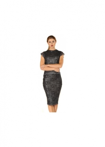 Rosie Dark Grey Lace Pencil Skirt & Tailored Top Set