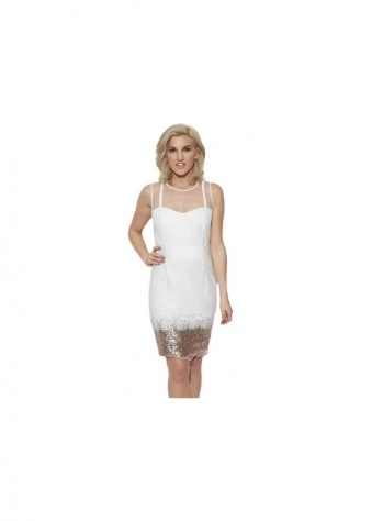 Mist White Sequinned Mesh Top Shift Dress