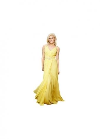 Key Fashion Brilliance Yellow Chiffon Draped Low Back Evening Dress