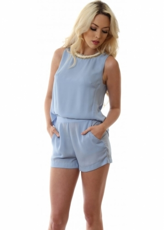 Lucy Paris Blue Playsuit With Side Pockets Draped Back & Chain Neckline