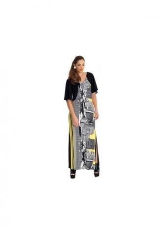 Yoruba City Scape Black & Yellow Maxi Dress