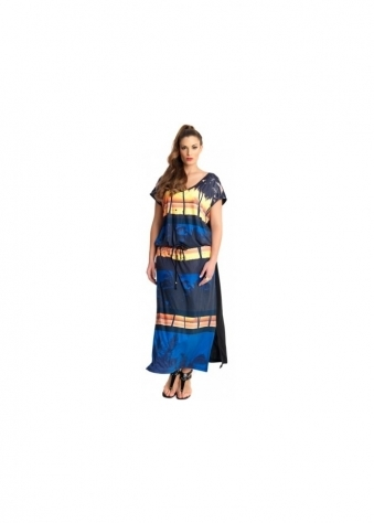 Hutu Beach Sunset Print Waist Tie Maxi Dress