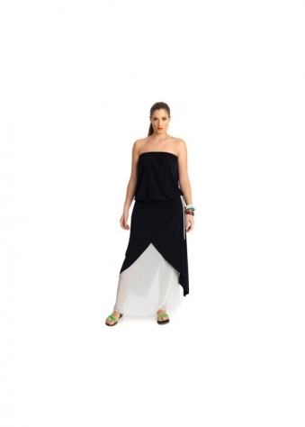 Black & Cream Pleated Strapless Maxi Dress