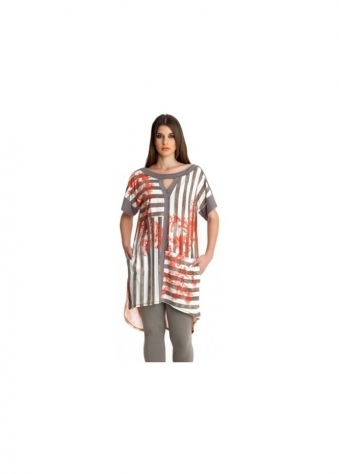 MAT Fashion Red Rococo Print Stripe Long Jersey Top
