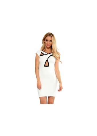 Cream & Black Cross Over Front Dress
