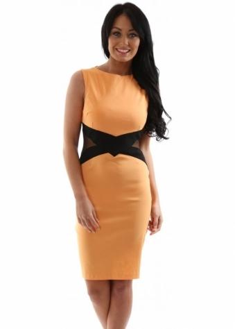 Vesper Georgina Apricot Contrast Waistband With Mesh Cutouts Dress