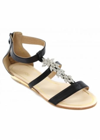 Black Strappy Sandals With Silver Crystal Flowers