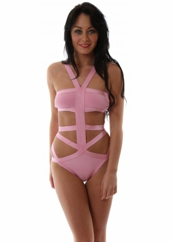 Black Label Carmen Pink Bandage Swimsuit