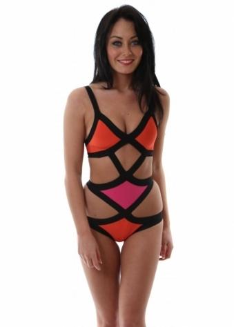 Black Label Meyer Bandage Orange & Pink Swimsuit