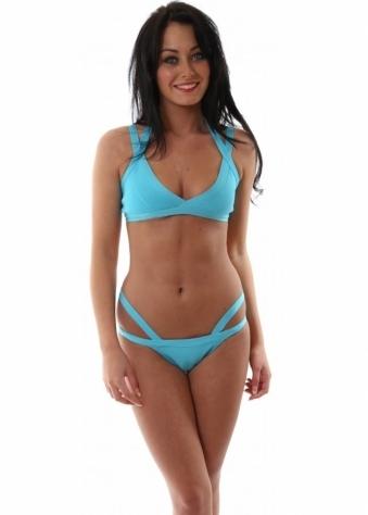 Black Label Belle Bandage Bikini in Blue