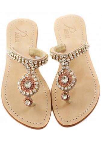 Paros Rose & Clear Czech Crystal Embellished Flat Sandals